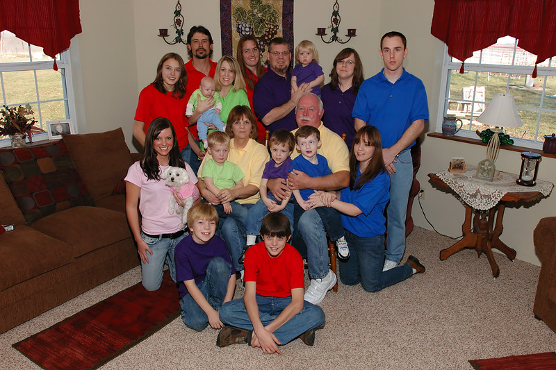Family Get Together Portrait<br /> The various colors represent each family segment.