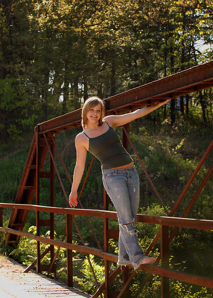 Senior Rechelle Hanging On The Rusty Iron Bridge<br /> Location: Near Mark Twain Lake Rural Perry, Missouri