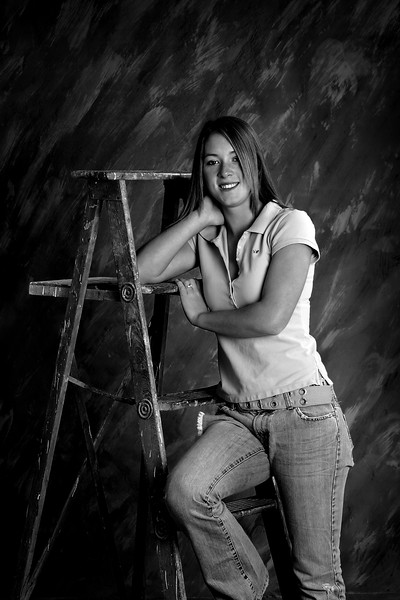 Paint and Ladder ~ Black and White Senior Portrait