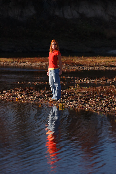 Down on the creek water reflection senior portrait