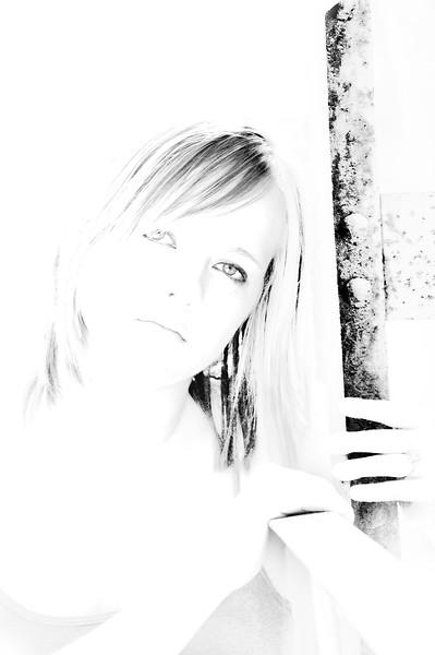 White Wash Sketch - Senior Portrait