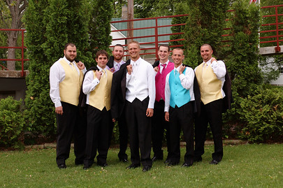 Groom and Groomsmen Outdoor Looking Cool While Waiting For The Wedding Ceremony To Begin Don't you love those colorful vests! By Co-Bear Photography