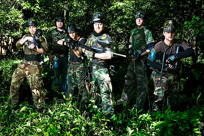 Paintball Team, Group enviromental portrait