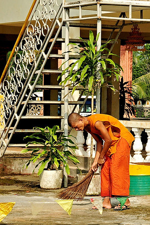 Buddhist Monk on Duty / Cambodia