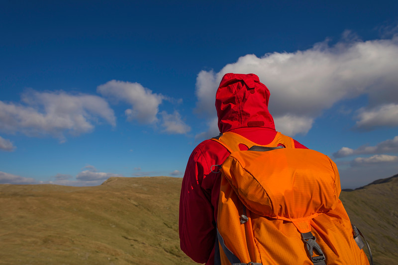 Hiker in red jacket