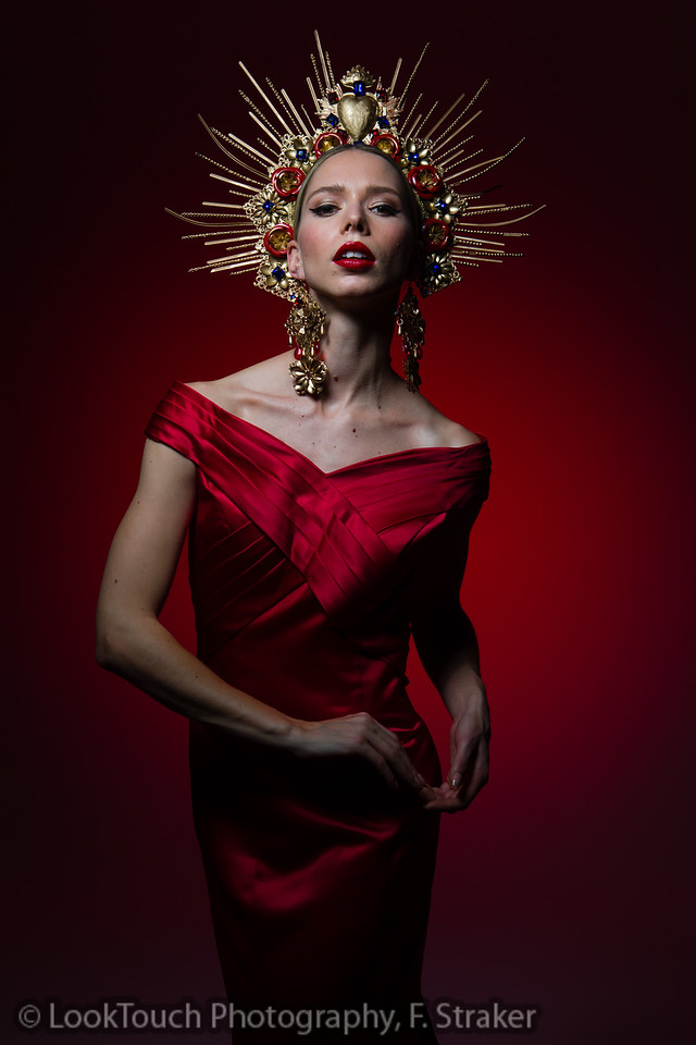 Red dress and headpiece