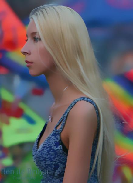 Moscow People: Woman walking on Manezhnaya Square