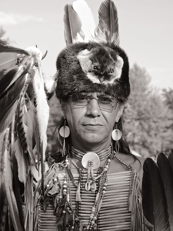 Chief of the Little River Band of Ottawa Indians in ceremonial costume.