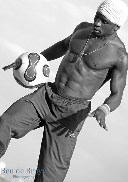Paris:Montmartre Sacre Cur Man with soccer ball 4 July 2012