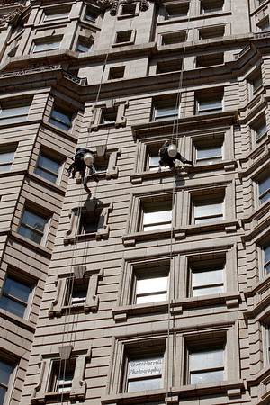 High Rise Window Cleaning Set Up(Double the Action)-Bellevue Hotel, Phila, Pa