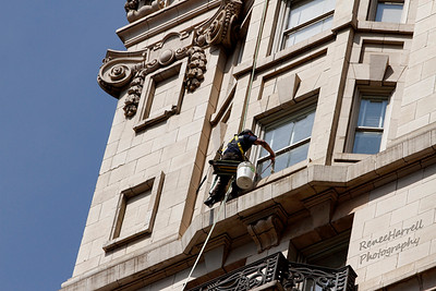 High Rise Window Cleaning Set Up-Bellevue Hotel, Phila, Pa