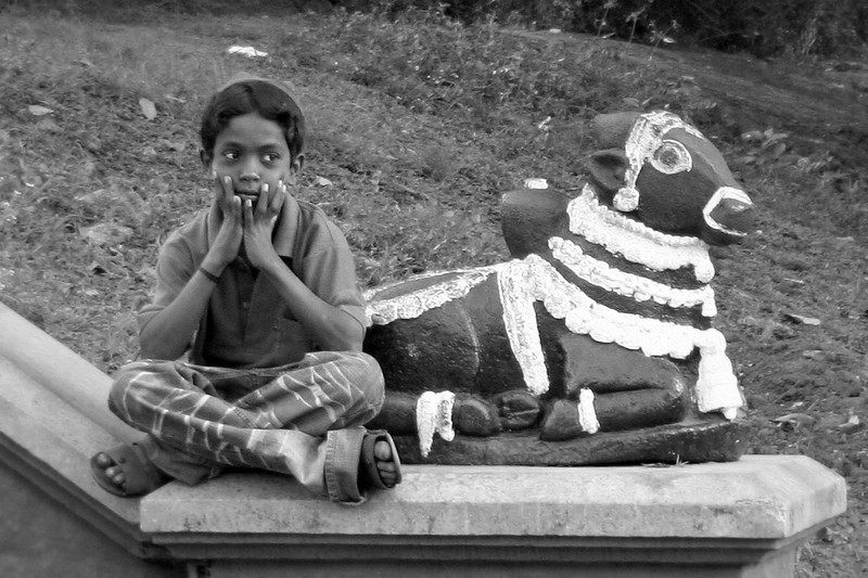 Boy and Nandi (Bull of Siva)<br /> Bangalore, India