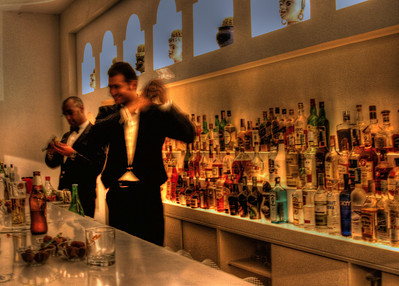 Bartenders mixing it up at the Grand Hotel Aminta in Sorrento Italy.