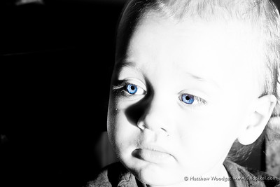 #97 - Got the blues. this photo seemed lost until I ran it through Lightroom. I shoot in RAW so was able to recover a surprising amount of detail. I love the contrast and the reflection of the flash on Theodore's cheek. Left his eye color in and gave it a bit of a bump in saturation.