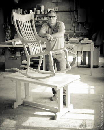 Master woodworker Ethan Hutchinson in his Denver workshop.