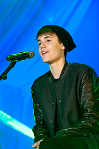 Singer Justin Bieber performs at Westfield Stratford City after switching on the Christmas lights.