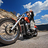 Biker cruising on an open road