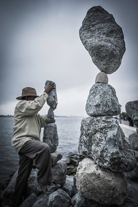 Perfectly balanced. Finding balance in life is easier said than done, but it is the key to success. Once balance is found leave it alone. The Rock Balancer in the Seaport Village knows this all too well.