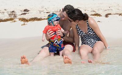 A family o n the beach in Cancun, Mexico