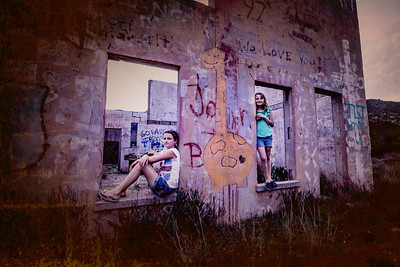 """Julia and Lana""  An old abandoned building in East San Diego makes for the perfect spot for an impromptu photo shoot."
