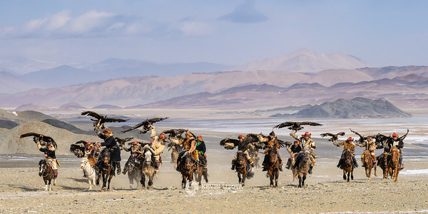 Stampede of Kazakh eagle hunters