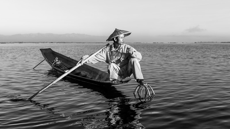 Fisherman at Inle Lake 6 (B&W)