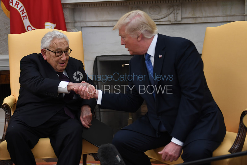 10/9/17- The White House- Washington DC<br /> <br /> President Donald Trump welcomes former Secretary of State Henry Kissinger to the Oval Office.