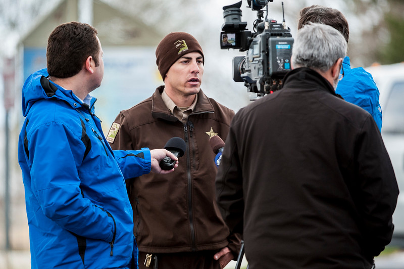 Sgt. Tony Santora of Utah State Parks talks with various media outlets about a 45 year old man who went missing while fishing out on Willard Bay at approximately 8:30PM on Sunday, in Willard on March 23, 2015.
