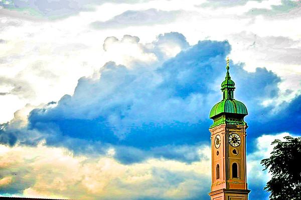 Clouds & Clock Tower - Munich, Germany