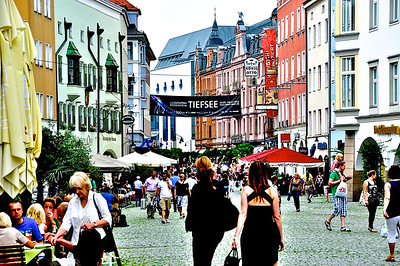 Busy Downtown Rosenheim, Germany