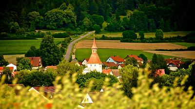Church Steeple In Rural German Village