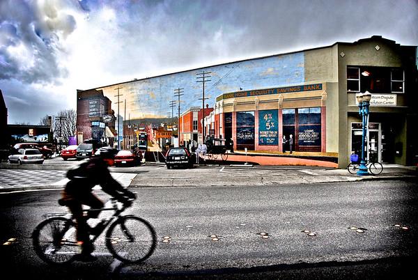 Bike Rider In Downtown - Bellingham, Washington