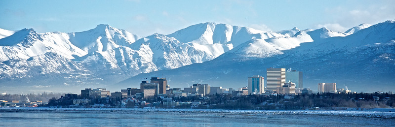 Winter Snow - Downtown Anchorage, Alaska