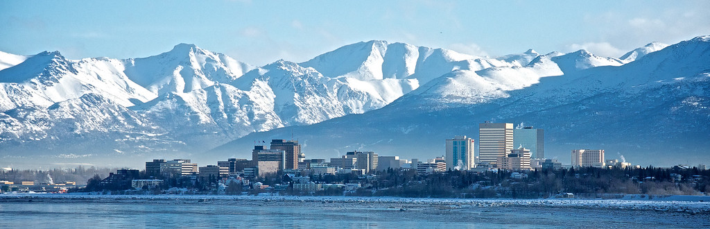 Winter Snow - Downtown Anchorage, Alaska