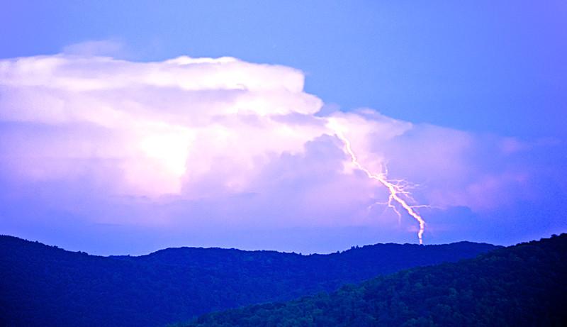 Lightning Strike Over The Blue Ridge Mountains