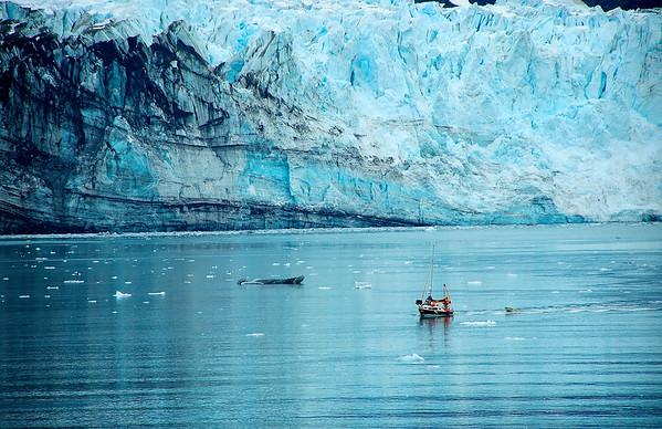 Small Boat Passes In Front of Margerie Glacier - Glacier Bay, Alaska