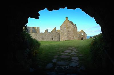 Looking Through The Tunnel Inside Dunnottar Castle - Scotland