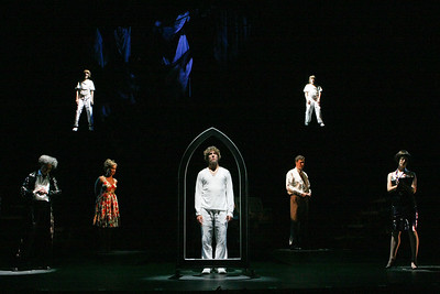 "HOLLYWOOD, CA - JUNE 17: Cast members actors Daniel Guzman, Lorenzo Doryon, Alice Ripley, Aleks Pevec, Tom Schmid, LJ Benet and Leah Seminario perform as Tommy during the dress rehearsal of The Who's ""Tommy"" held at the Richardo Montalban Theatre on June 17, 2008 in Hollywood, California.  (Photo by Ryan Miller/Capture Imaging)"