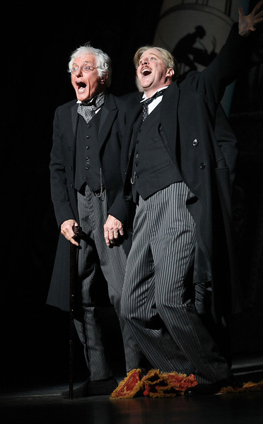 """LOS ANGELES, CA - JANUARY 22: Actor Dick Van Dyke (star of the original Disney motion picture) (L) makes a guest appearance with cast member Karl Kenzler (R) in the national tour of the Disney and Cameron Mackintosh production of """"Mary Poppins"""" at the Center Theatre Group's Ahmanson Theatre on January 22, 2010 in Los Angeles, California. (Photo by Ryan Miller/Capture Imaging)"""