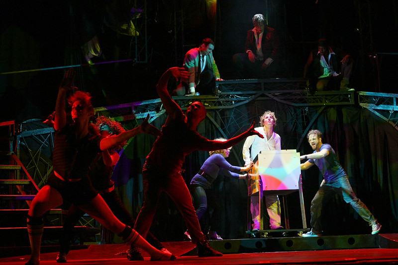 "HOLLYWOOD, CA - JUNE 17: Cast member actor Aleks Pevec performs as Tommy on stage with the ensemble cast during the dress rehearsal of The Who's ""Tommy"" held at the Richardo Montalban Theatre on June 17, 2008 in Hollywood, California.  (Photo by Ryan Miller/Capture Imaging)"
