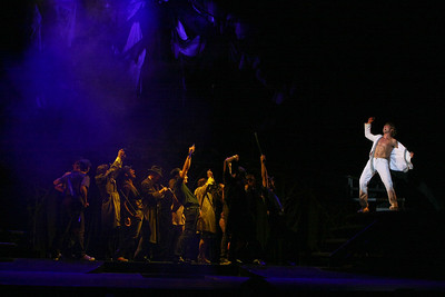"HOLLYWOOD, CA - JUNE 17: Cast member actor Aleks Pevec (R) performs as Tommy on stage with the ensemble cast during the dress rehearsal of The Who's ""Tommy"" held at the Richardo Montalban Theatre on June 17, 2008 in Hollywood, California.  (Photo by Ryan Miller/Capture Imaging)"