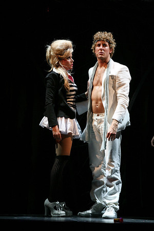 "HOLLYWOOD, CA - JUNE 17: Cast members actors Jenna Leigh Green (L) and Aleks Pevec performs as Tommy during the dress rehearsal of The Who's ""Tommy"" held at the Richardo Montalban Theatre on June 17, 2008 in Hollywood, California.  (Photo by Ryan Miller/Capture Imaging)"