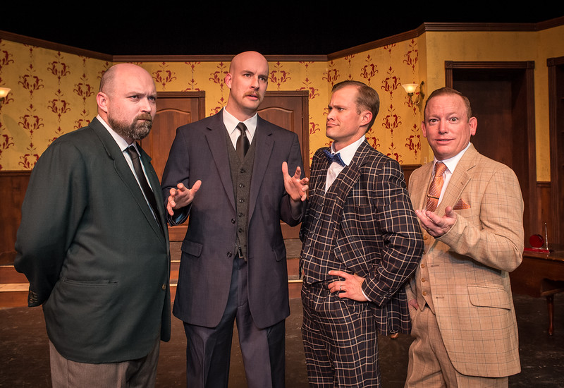 """Shaie Williams for AGN Media. Amarillo Little Theatre  presents """"The Musical Comedy Murders of 1940"""". left to right. Michael Newman (O'Reilly), Zeke Lewis (Kelly),  Brooks Boyett (Eddie) and Dennis Humphrey (Ken)  Photo taken at ALT Mainstage in Amarillo TX on January 9, 2018."""