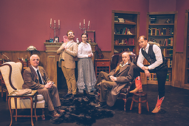 "Jeffrey Pickens, Brandon Dawson, Kara Leimer, Zeke Lewis and Brooks Boyett the cast for the upcoming Amarillo Little Theatre presents "" Baskerville"" a Sherlock Holmes Mystery.  [Shaie Williams for Amarillo Globe News]"
