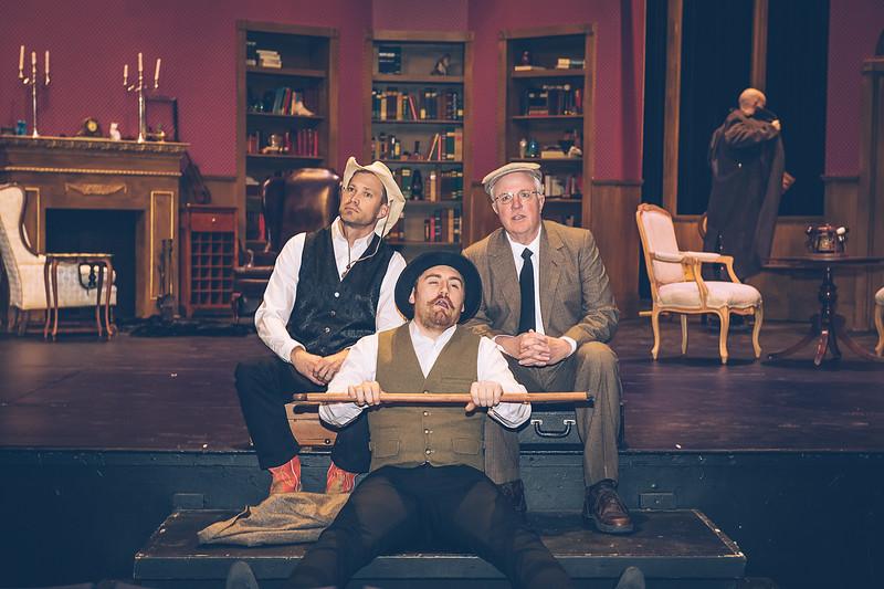 "Brooks Boyett, Brandon Dawson and Jeffrey Pickens  in Amarillo Little Theatre presents "" Baskerville"" a Sherlock Holmes Mystery.  [Shaie Williams for Amarillo Globe News]"