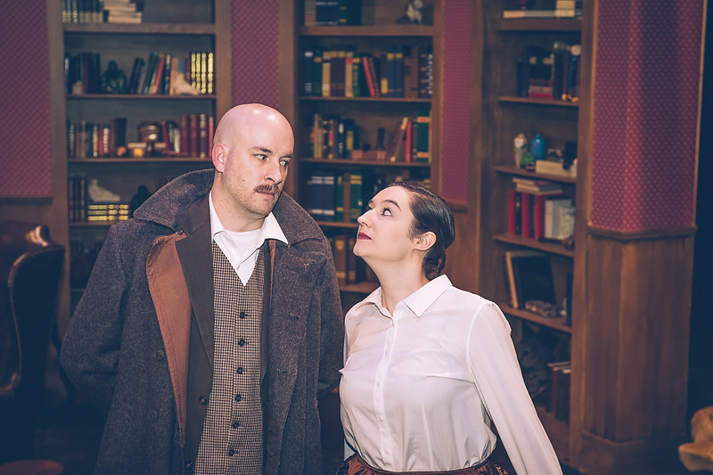 """Zeke Lewis and Kara Leimer  in Amarillo Little Theatre presents """" Baskerville"""" a Sherlock Holmes Mystery.  [Shaie Williams for Amarillo Globe News]"""