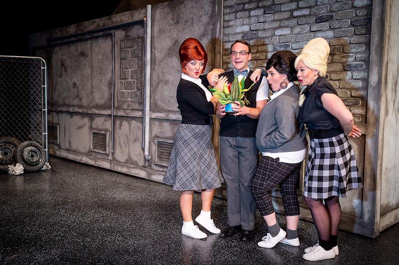 "Stephanie Adams as ""Crystal, Brandon Bellar as ""Seymour,"" Jeri Tidmore as ""Chiffon"" and Deanna Hurt as ""Ronnette"".  Amarillo Little Theatre presents ""Little Shope of Horrors [Shaie Williams for Amarillo Globe News]"