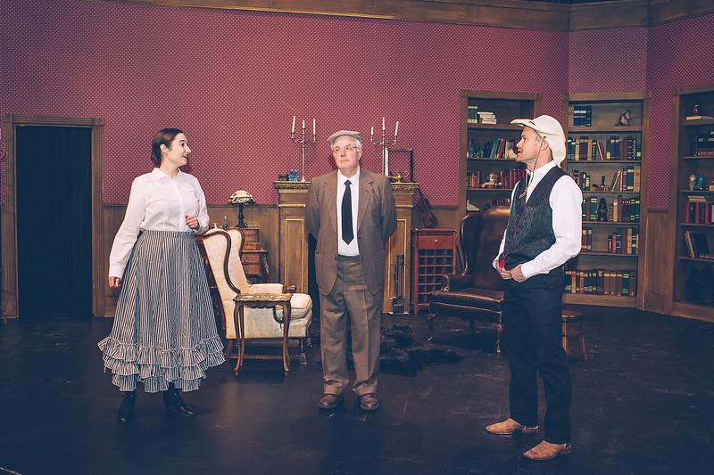 "Amarillo Little Theatre presents "" Baskerville"" a Sherlock Holmes Mystery. Kara Leimer, Jeffrey Pickens and Brooks Boyett.  [Shaie Williams for Amarillo Globe News]"