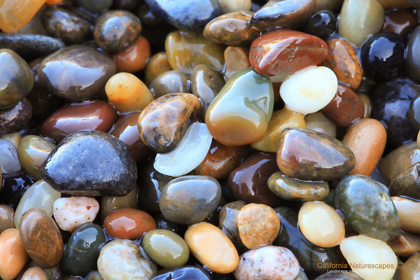 """""""Pebbles of Pebble Beach"""" <br>Location: Pebble Beach, San Mateo, California.  <p></p><p>I think these pebbles are the highlight of this beach, which is also aptly named after them. The entire shore is covered by these incredibly beautiful bebbles. Since you are not allowed to take these home I took a picture of them instead.  </p><p>Tech Info: <br>Lens: Canon EF 100mm f/2.8L IS Macro <br>Camera: Canon EOS 5D Mk II <br>Exposure: 2sec at f/18 and ISO 200 <br>Filters: B+W Circular Polarizer  <br><br>The coastline of the Bean Hollow State Beach has one of the most unique rock formations. It is always a joy to visit this location and photograph it during sunset. There are no long sandy beaches to be found here but only the rugged stone formations eroded in strange and sometimes beautiful formations called """"tafoni"""". I have been visiting here for many years and though I am somewhat satisfied with the images I have captured, I feel that the beauty of this place is best seen in person.  These are twin beaches, Bean Hollow State Beach and the Pebble Beach.  Both beaches are amazing with their rock formations, colorful pebbles, tide pools, tafoni and of course the open views of the pacific ocean.</p>"""