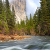 """Majestic El Cap and Mighty Merced (Portrait Version)"" <br>Location: Yosemite National Park, California.  <p></p><p>The grandeur of Yosemite valley is best seen from spots that are hidden away along the curves of Merced river. The view is particularly appealing when major landmarks in the valley, such as El Capitan in this case, can also be seen. It was not just the view but also the photographic process that I enjoyed at this location. It was dull gray and raining when I arrived at this spot. Then it started clearing and El Cap appeared out of fog in it's full glory.  </p><p>This is a scene in the valley during spring season when when the Merced river is at it's peak flow and there is a good chance to see fog and clouds shrouding the granite peaks. In this particular image I also liked spots of penetrating light on the pine trees. As the storm was clearing in the sky, pockets of openings were creating interesting displays of light. I made several images but likes this one very much.  </p><p>Tech Info: <br>Lens: Canon EF 24-70mm f/2.8 L @ 45mm <br>Camera: Canon EOS 5D Mk II <br>Exposure: 1/4sec at f/14 and ISO 50 <br>Filters: LEE 0.6 (2-stop) and 0.9 (3-stop) soft edge ND Graduated filters   <br><br>Yosemite is the arguably the most beautiful national park. It's grandeur and the time scale it took to evolve is very humbling. I learnt that the granite peaks started out as molten magma deep below the earth's surface about 100 million years ago. Merced river then carved it into a ""V"" shaped valley and finally glaciers shaped it into its present day ""U"" shape. The beauty of the valley has inspired many. It's lush forests, tall granite peaks, amazing monoliths and beautiful waterfalls are so pristine that a visit to the park often overwhelms the senses. A visit here at least once in lifetime is a must.</p>"